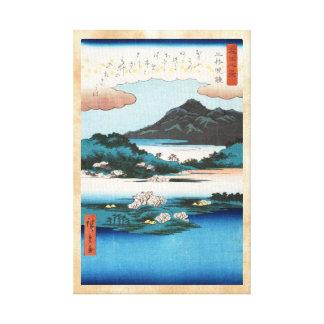 Montaña japonesa del waterscape del ukiyo-e fresco lona envuelta para galerías