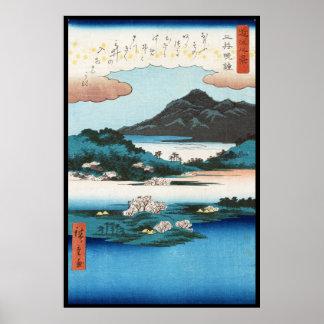 Montaña japonesa del waterscape del ukiyo-e fresco impresiones