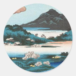 Montaña japonesa del waterscape del ukiyo-e fresco pegatina redonda