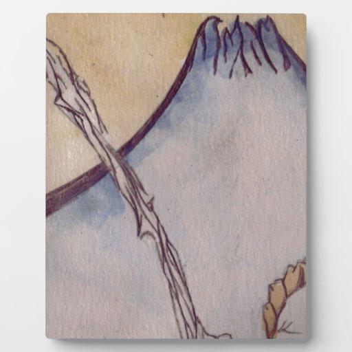 Montaña japonesa placa de madera