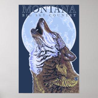 Montana -- Lobo grande de CountryHowling del cielo Impresiones