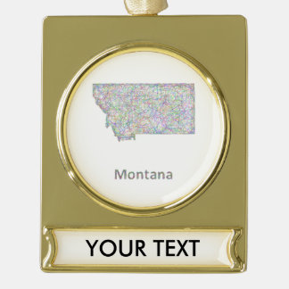 Montana map gold plated banner ornament
