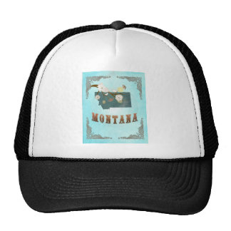Montana Map With Lovely Birds Trucker Hat