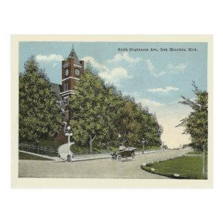 Montaña Michigan del hierro del vintage Postal