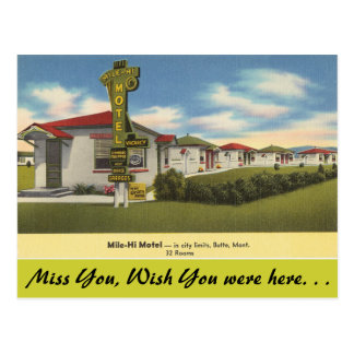 Montana, Mile-Hi Motel, Butte Postcard