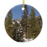 Montana Mountain Trails in Winter Landscape Photo Ceramic Ornament