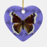 Montana Mourning Cloak Butterfly Double-Sided Heart Ceramic Christmas Ornament