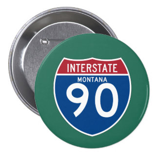 Montana MT I-90 Interstate Highway Shield - Button