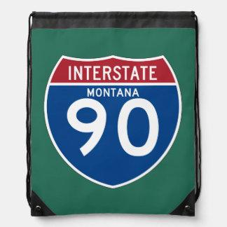 Montana MT I-90 Interstate Highway Shield - Drawstring Backpack