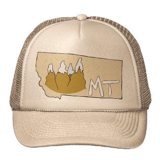 Montana MT Map & Rocky Mountains Cartoon Art Trucker Hat