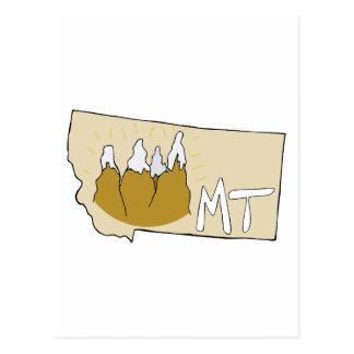 Montana MT Map & Rocky Mountains Cartoon Art Postcard