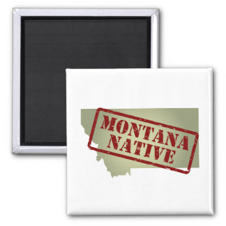 Montana Native Stamped on Map Magnet