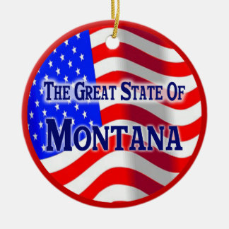 Montana Double-Sided Ceramic Round Christmas Ornament
