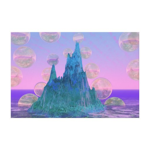 Montaña poética, rosa mágico abstracto del trullo impresión de lienzo