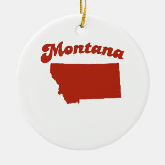MONTANA Red State Double-Sided Ceramic Round Christmas Ornament