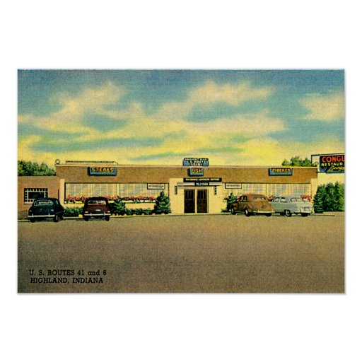 Montaña, restaurante 1940 de Indiana Poster