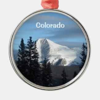 Montaña rocosa alta, Colorado Adorno Redondo Plateado