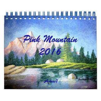 Montaña rosada de 2016 calendarios que pinta la