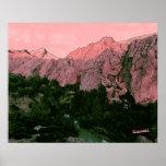 Montaña rosada poster