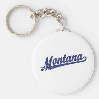Montana script logo in blue basic round button keychain