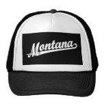 Montana script logo in white hats