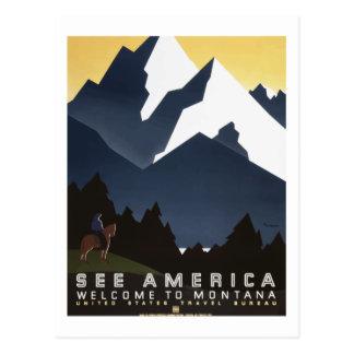 "Montana ""See America"" Vintage Travel Poster Postcard"