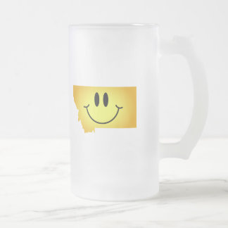 Montana Smiley Face Frosted Glass Beer Mug