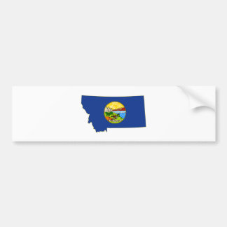 Montana State Flag and Map Bumper Sticker