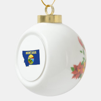 Montana State Flag and Map Ceramic Ball Christmas Ornament