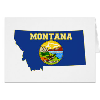 Montana State Flag and Map greeting Card