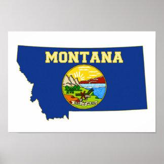 Montana State Flag and Map Print
