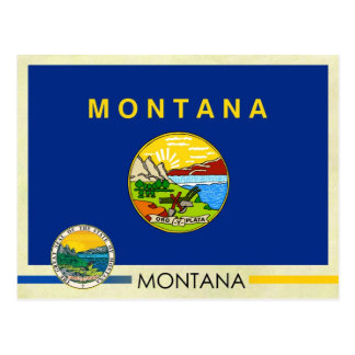 Montana State Flag and Seal Postcard
