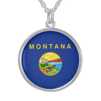 Montana State Flag Design Sterling Silver Necklace