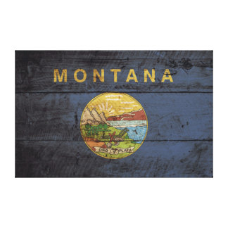 Montana State Flag on Old Wood Grain Gallery Wrap Canvas