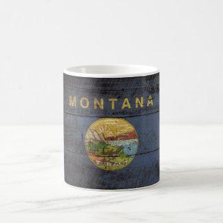 Montana State Flag on Old Wood Grain Coffee Mug