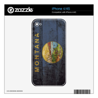 Montana State Flag on Old Wood Grain Decal For The iPhone 4