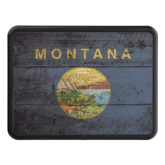 Montana State Flag on Old Wood Grain Hitch Cover
