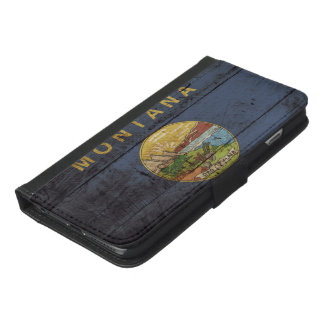 Montana State Flag on Old Wood Grain iPhone 6/6s Plus Wallet Case