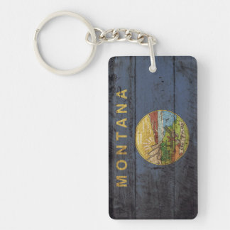 Montana State Flag on Old Wood Grain Keychain