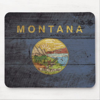 Montana State Flag on Old Wood Grain Mouse Pad