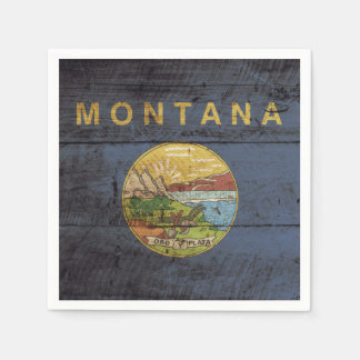 Montana State Flag on Old Wood Grain Napkin