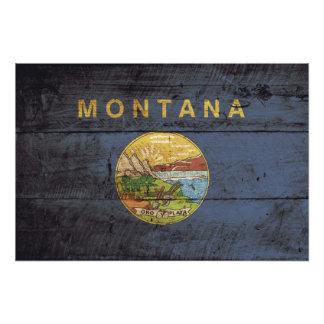 Montana State Flag on Old Wood Grain Photograph