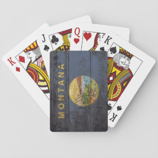 Montana State Flag on Old Wood Grain Playing Cards