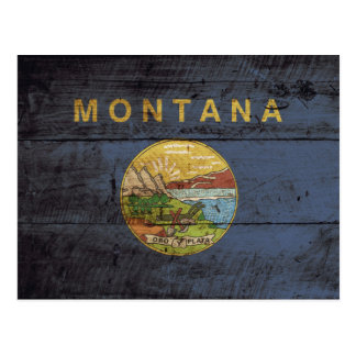 Montana State Flag on Old Wood Grain Postcard