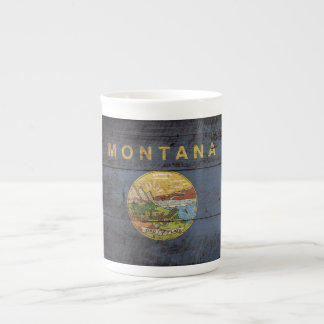 Montana State Flag on Old Wood Grain Tea Cup