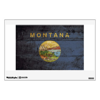 Montana State Flag on Old Wood Grain Wall Stickers