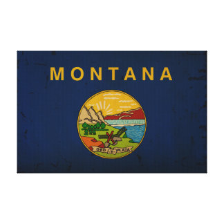 Montana State Flag VINTAGE.png Stretched Canvas Print