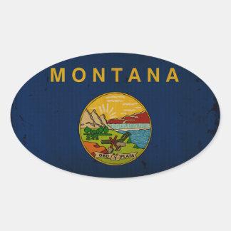 Montana State Flag VINTAGE.png Oval Sticker
