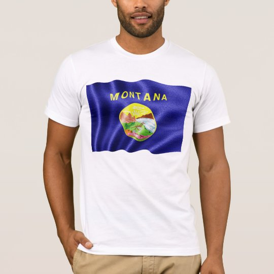 Montana State Flag Waving T-Shirt
