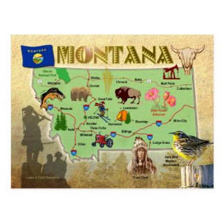 Montana State Map Post Card